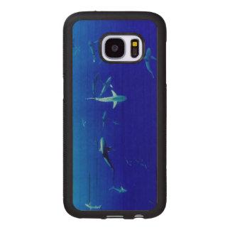 Capa De Madeira Para Samsung Galaxy S7 Tubarões subaquáticos