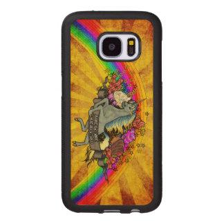 Capa De Madeira Para Samsung Galaxy S7 Unicórnio da sobrecarga, arco-íris & bordo