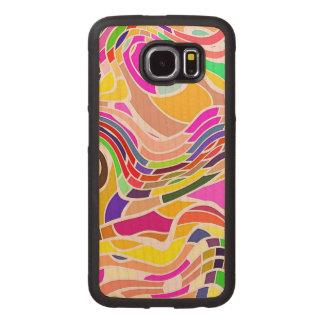 Capa De Madeira Para Telefone Arte abstracta colorida, linhas brancas das formas