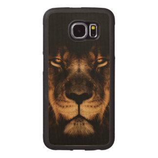 Capa De Madeira Para Telefone Arte africana da cara do leão