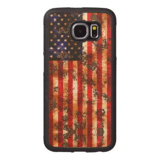Capa De Madeira Para Telefone Bandeira vertical americana oxidada resistida