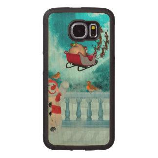 Capa De Madeira Para Telefone Design do Natal, Papai Noel