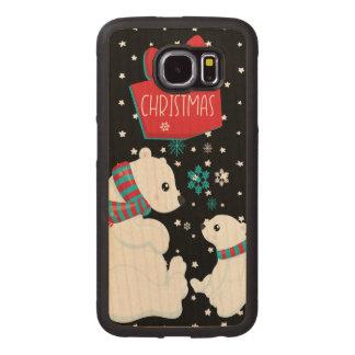 Capa De Madeira Para Telefone Dois Felizes Natais dos ursos polares