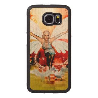 Capa De Madeira Para Telefone Fada maravilhosa com cisne