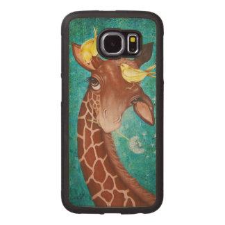 Capa De Madeira Para Telefone Girafa bonito com pássaros