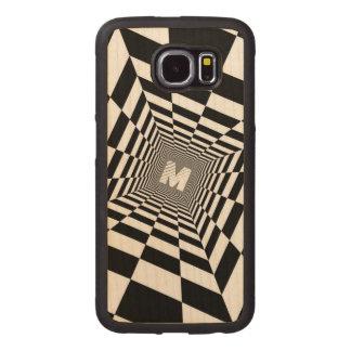 Capa De Madeira Para Telefone Ilusão óptica preta & branca, monograma branco