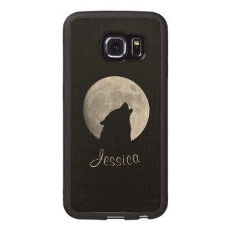 Capa De Madeira Para Telefone Lobo que urra na Lua cheia, seu nome
