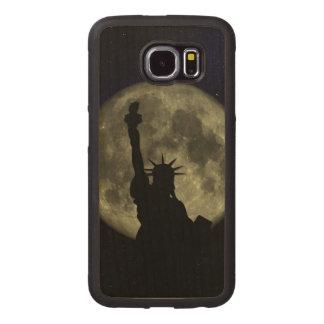 Capa De Madeira Para Telefone Lua e senhora Liberdade