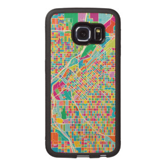 Capa De Madeira Para Telefone Mapa colorido de Denver