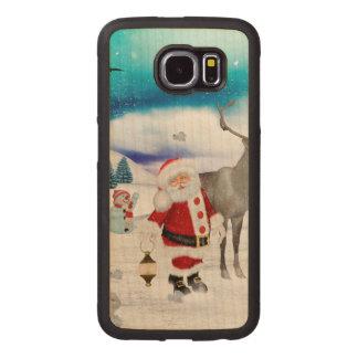 Capa De Madeira Para Telefone Papai Noel engraçado
