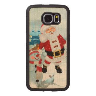 Capa De Madeira Para Telefone Papai Noel engraçado com boneco de neve