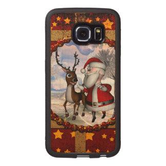 Capa De Madeira Para Telefone Papai Noel engraçado com rena