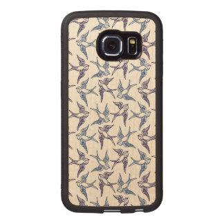 Capa De Madeira Para Telefone Rebanho de pássaros esboçados