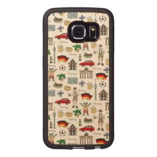 Capa De Madeira Para Telefone Teste padrão dos símbolos de Alemanha  