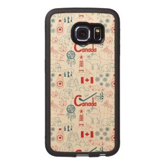Capa De Madeira Para Telefone Teste padrão dos símbolos de Canadá |