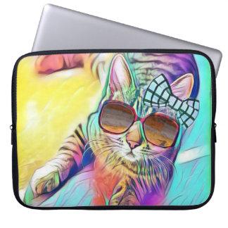 Capa De Notebook A bolsa de laptop colorida do neopreno do gato 15