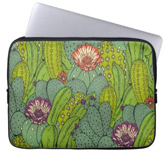 Capa De Notebook A bolsa de laptop do teste padrão de flor do cacto
