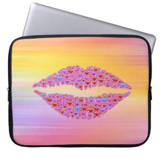 Capa De Notebook A bolsa de laptop dos lábios de Emoji