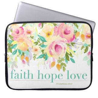 Capa De Notebook A bolsa de laptop floral da aguarela do amor | da