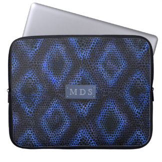 Capa De Notebook A bolsa de laptop Monogrammed geométrica azul do