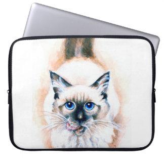 Capa De Notebook Aguarela do gato Siamese