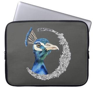 Capa De Notebook Aguarela do pavão com brilho da prata do falso