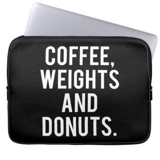 Capa De Notebook Café, pesos e rosquinhas - Gym engraçado da