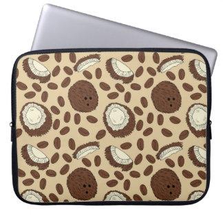 Capa De Notebook Creme de Brown Tan do teste padrão do feijão de