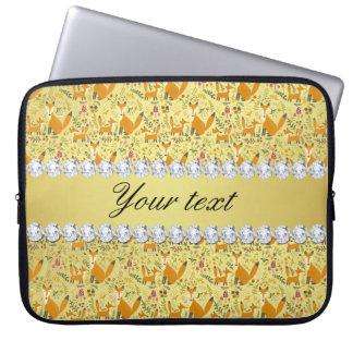 Capa De Notebook Diamantes de Bling da folha de ouro do falso do