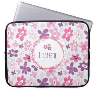 Capa De Notebook Flores cor-de-rosa e lunático bonito dos corações