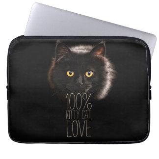 Capa De Notebook Gatinho preto tipográfico do amante do gato