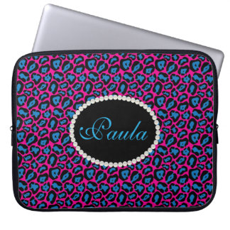 Capa De Notebook Impressão cor-de-rosa & azul chique do leopardo