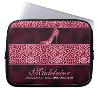 Capa De Notebook Impressão cor-de-rosa da chita com salto de