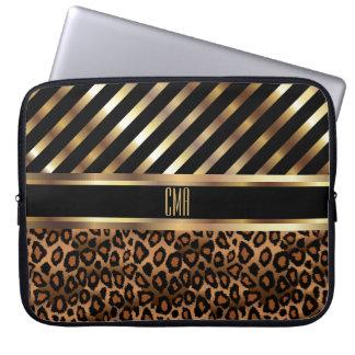 Capa De Notebook Listras do ouro do design | do monograma e pele do