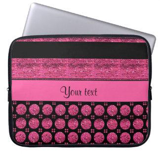 Capa De Notebook Listras do rosa quente e pontos do brilho