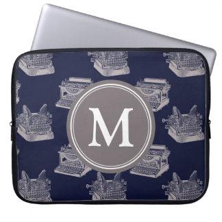Capa De Notebook Máquina de escrever azul personalizada do vintage