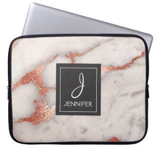 Capa De Notebook Monograma elegante do mármore do ouro do rosa do