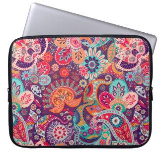 Capa De Notebook Teste padrão floral de néon cor-de-rosa de Paisley