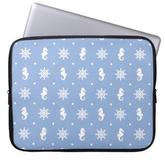 Capa De Notebook Teste padrão náutico dos azul-céu