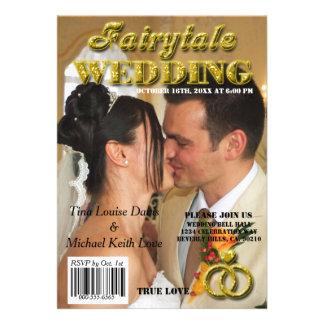 Capa de revista do brilho do ouro do casamento do