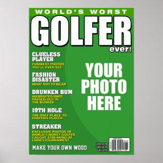 Capa de revista falsificada do jogador de golfe pôster