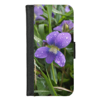 Capa de telefone chuvosa da carteira das violetas