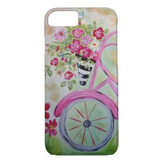 Capa de telefone cor-de-rosa da bicicleta