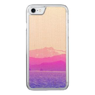 Capa de telefone cor-de-rosa da madeira das