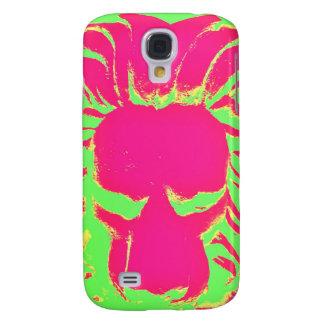 Capa de telefone cor-de-rosa e verde do leão da