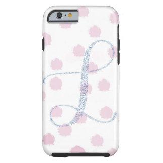 Capa de telefone cor-de-rosa floral do monograma