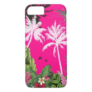 Capa de telefone cor-de-rosa tropical