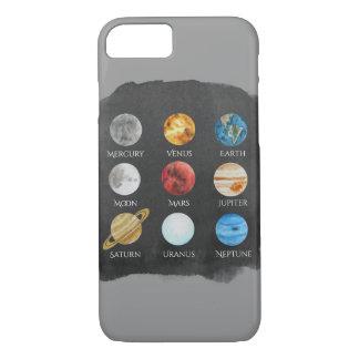 Capa de telefone da aguarela do sistema solar