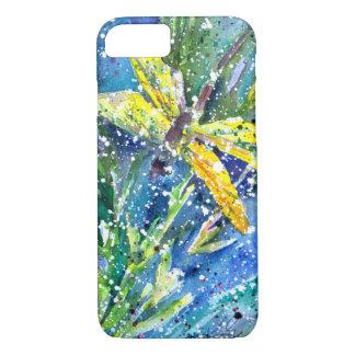 Capa iPhone 8/ 7 Capa de telefone da aguarela do verão da libélula