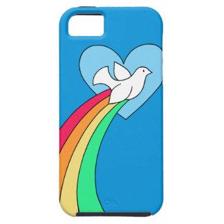 Capa de telefone da pomba do coração do arco-íris